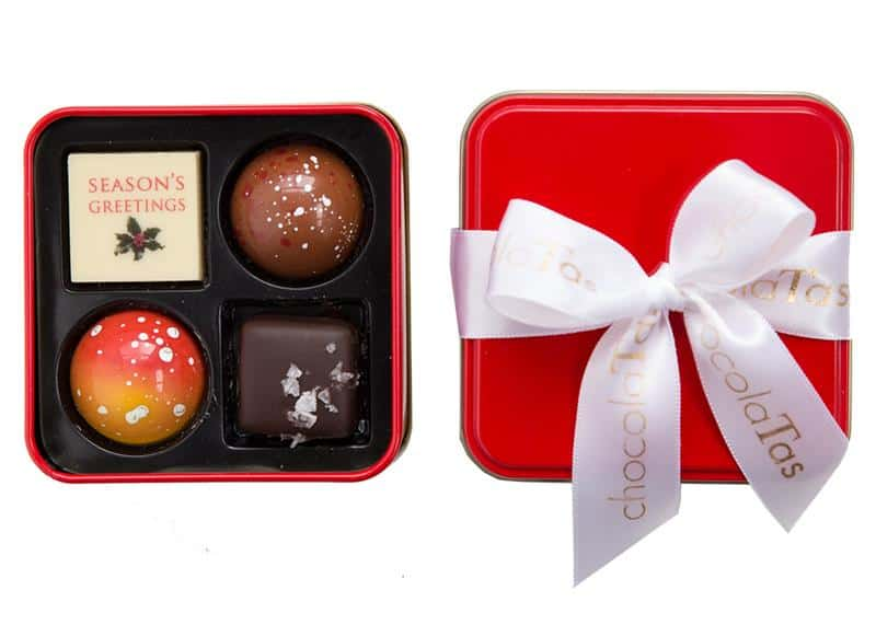 11. Seasons Greetings 4 Piece Tin by ChocolaTas, $8.95