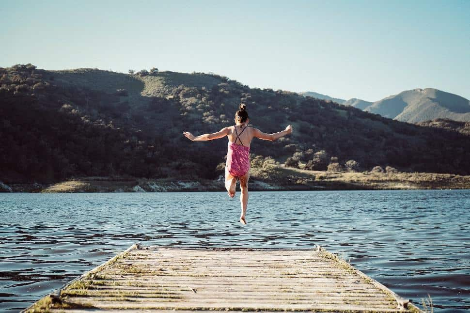 California, girl jumping
