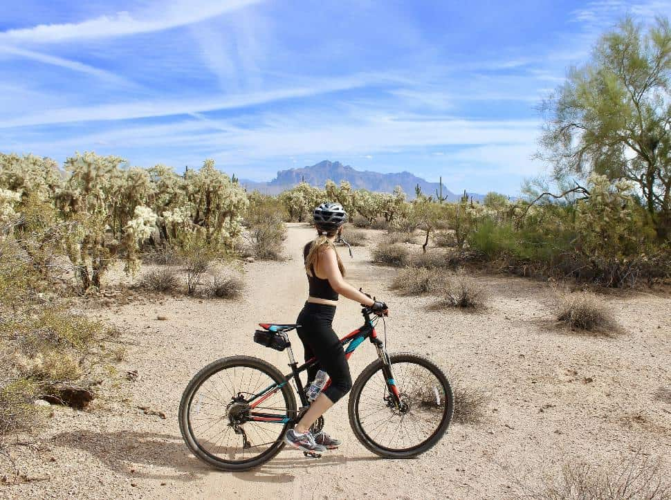 biking in the desert