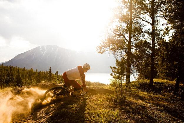 Riding Lower Tin Cup trail, Carcross