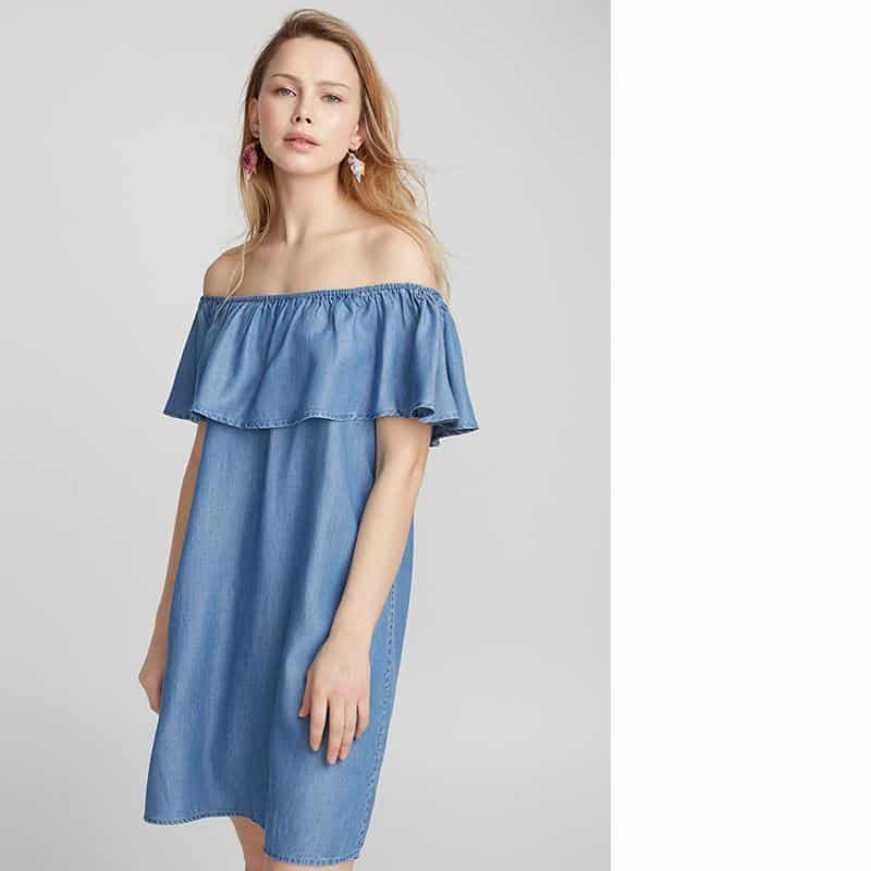 Twik mega ruffle bare-shoulder dress from Simons, $49