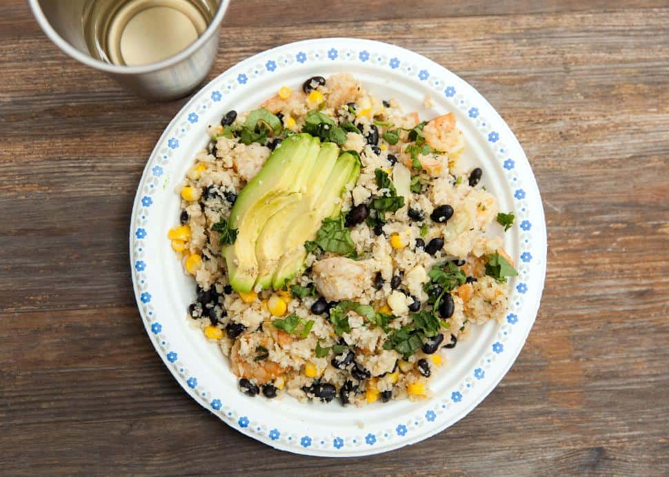 Cauliflower Rice with Prawns, Beans and Corn