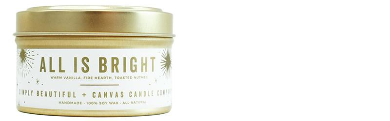 SIMPLY BEAUTIFUL + CANVAS CANDLE CO. All is Bright Soy Candle, $18