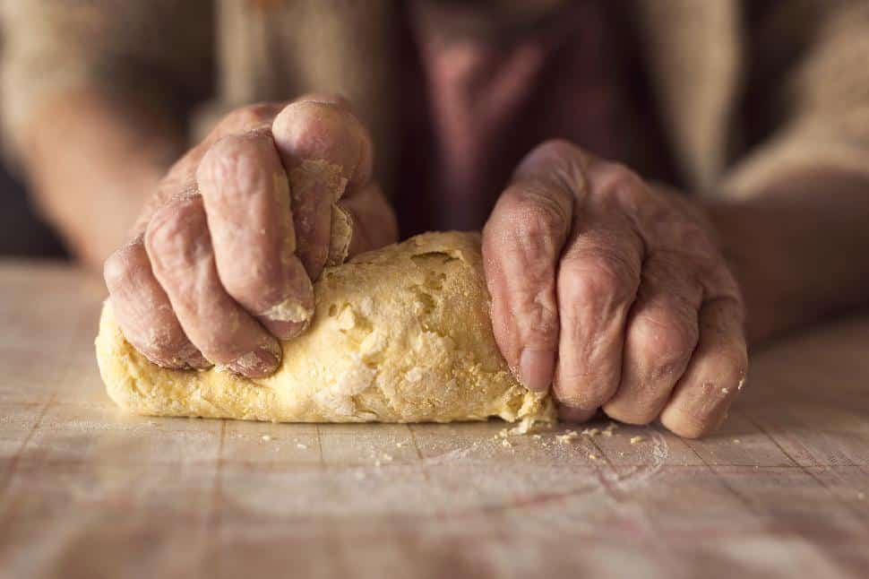 old hands kneading