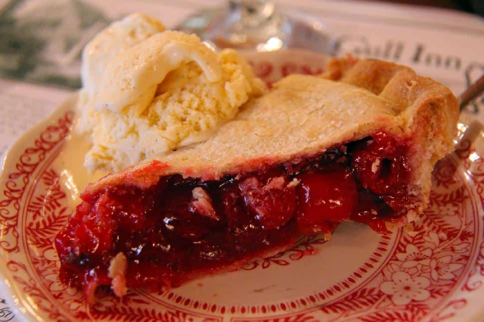 Cherry pie a la mode at White Gull Inn
