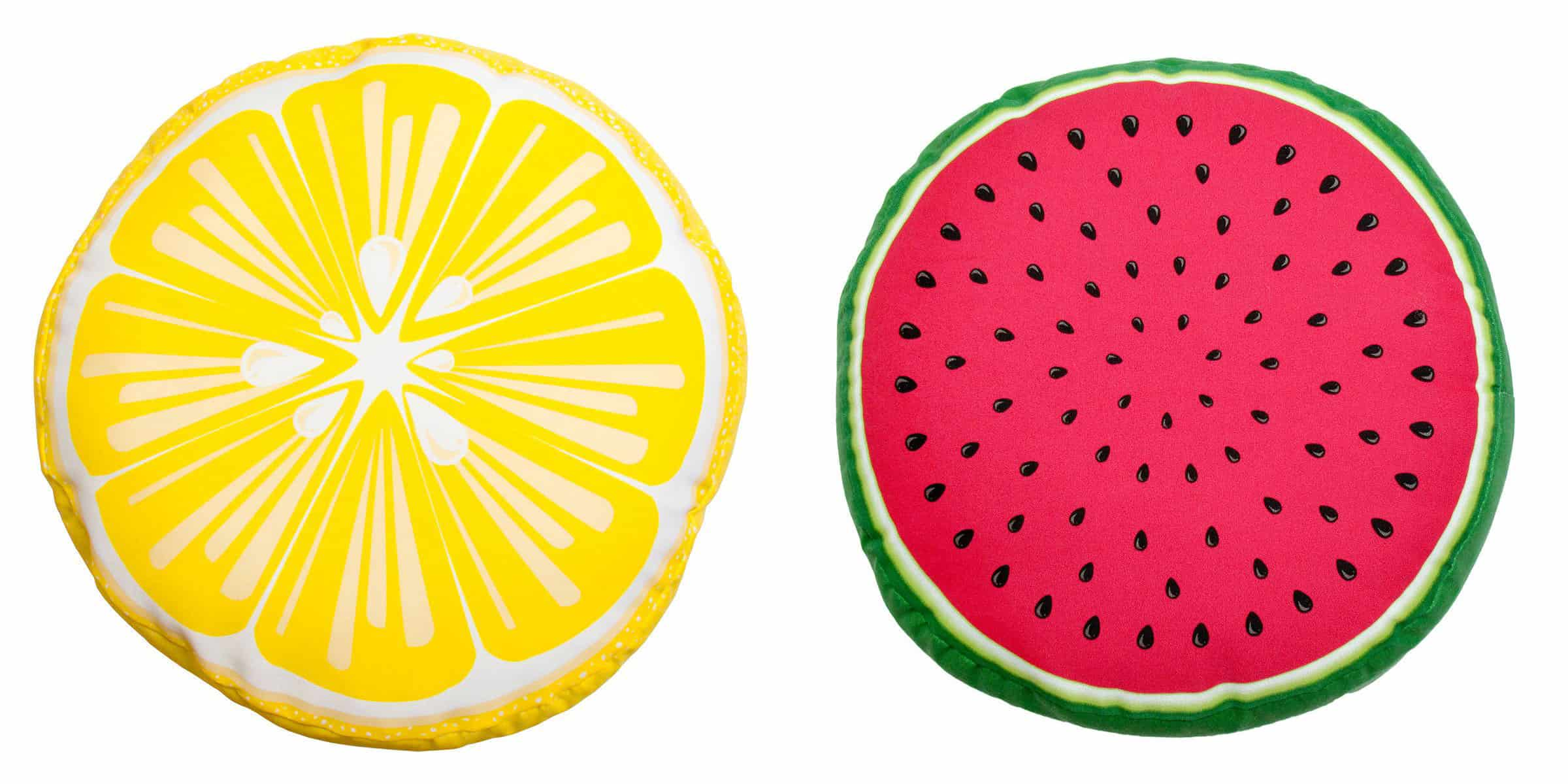 Watermelon and Lemon Outdoor/Indoor Toss Cushions, Walmart, $10 each