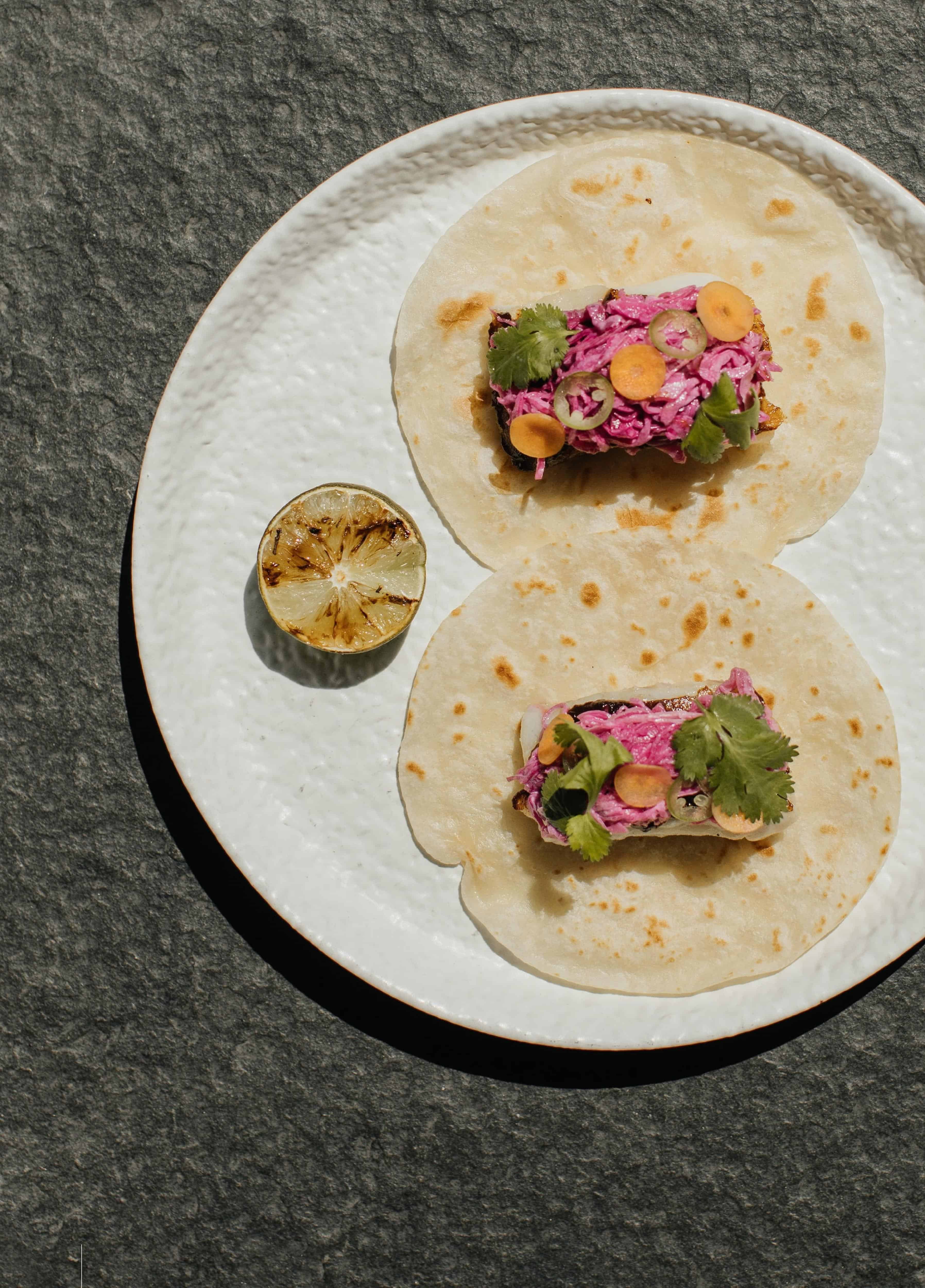 black miso fish taco