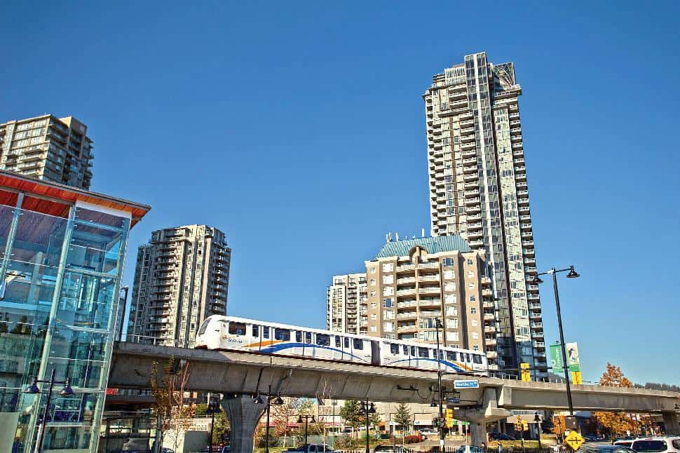 Coquitlam towers and Skytrain