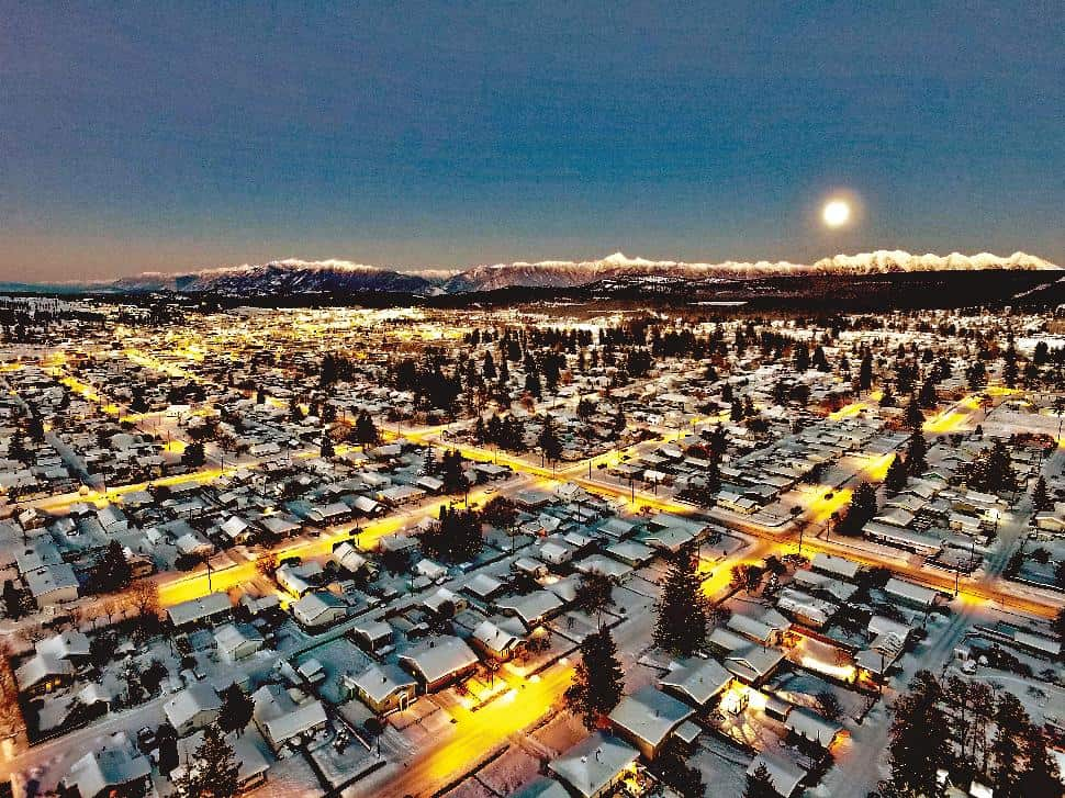The city of Cranbrook from above at night