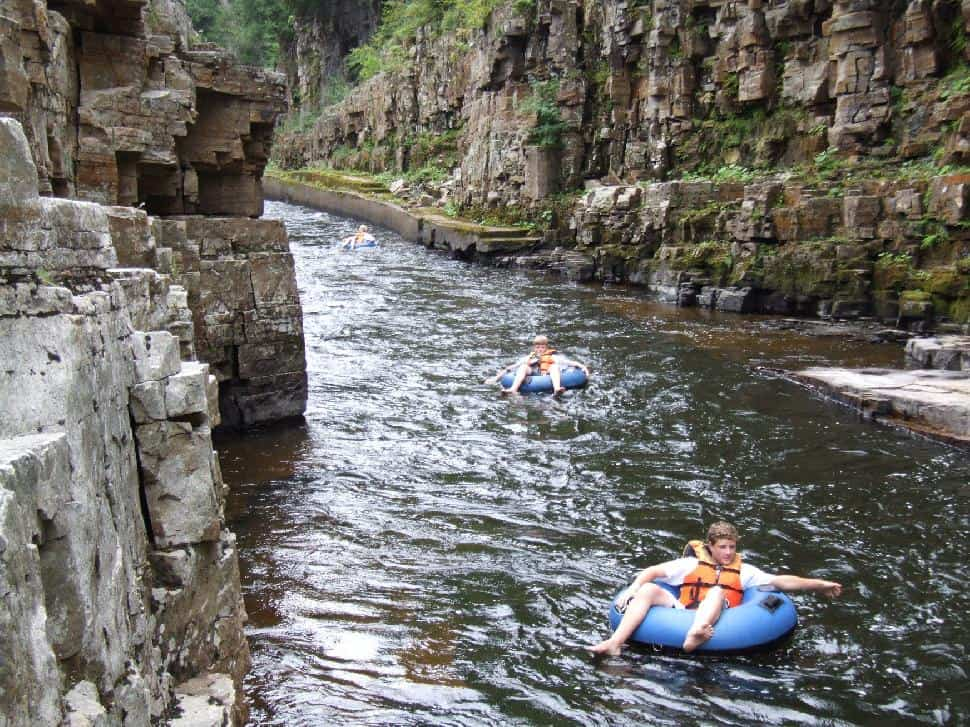 Tubing down Ausable Chasm
