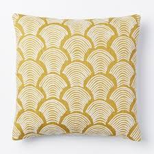 West Elm Crewel Deco Shells Pillow Cover In Horseradish
