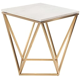 Mint Interiors White Marble End Table