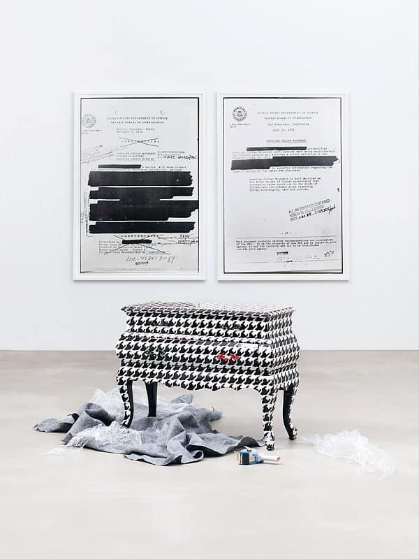 Houndstooth chest by Seletti ($1,450), seletti.com. Aim #2 (left, $7,000) and Aim #3 (right, $7,000) by Dana Claxton.