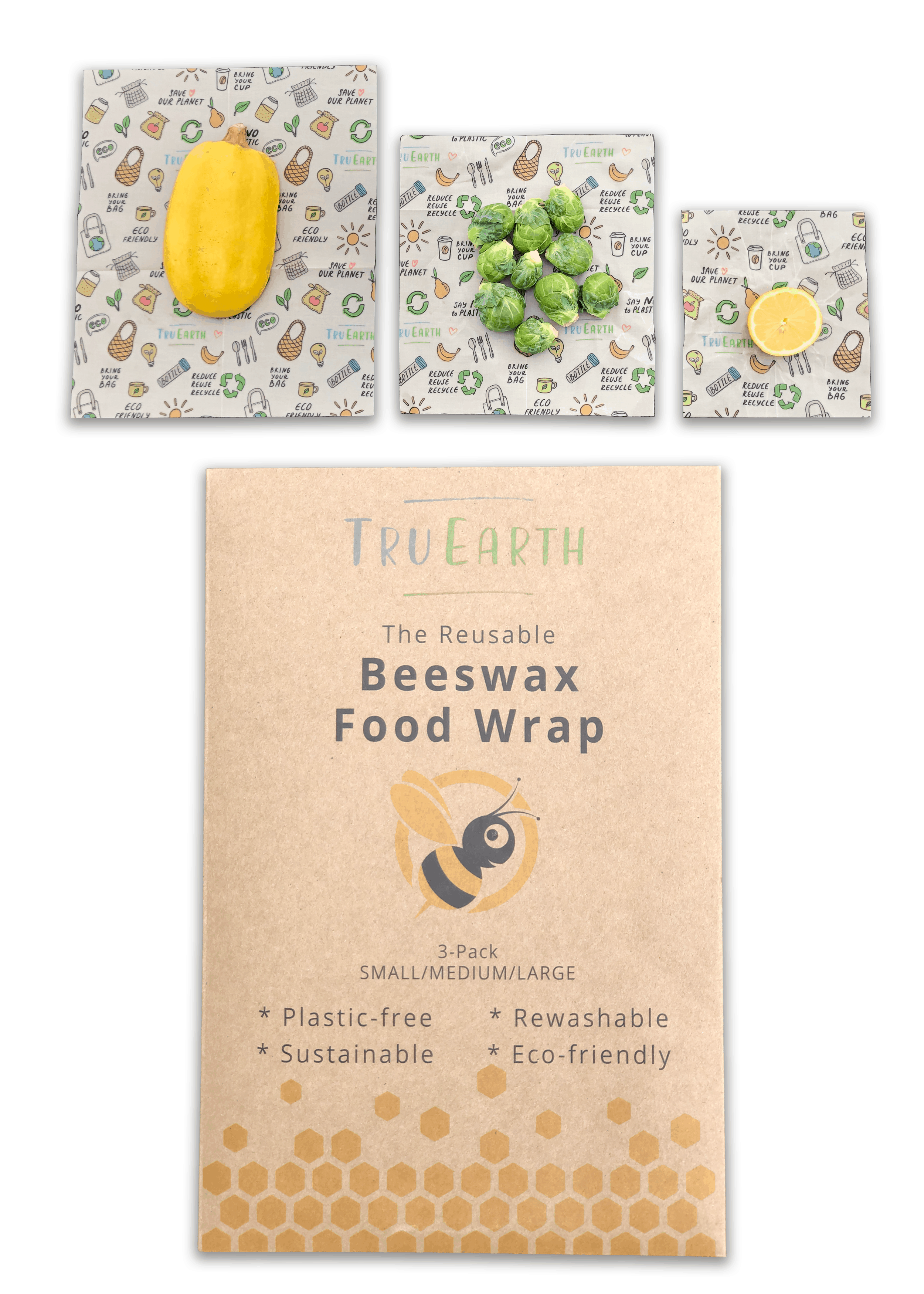Tru Earth - Beeswax Food Wrap Assorted 3-pack | NOW: $19.95