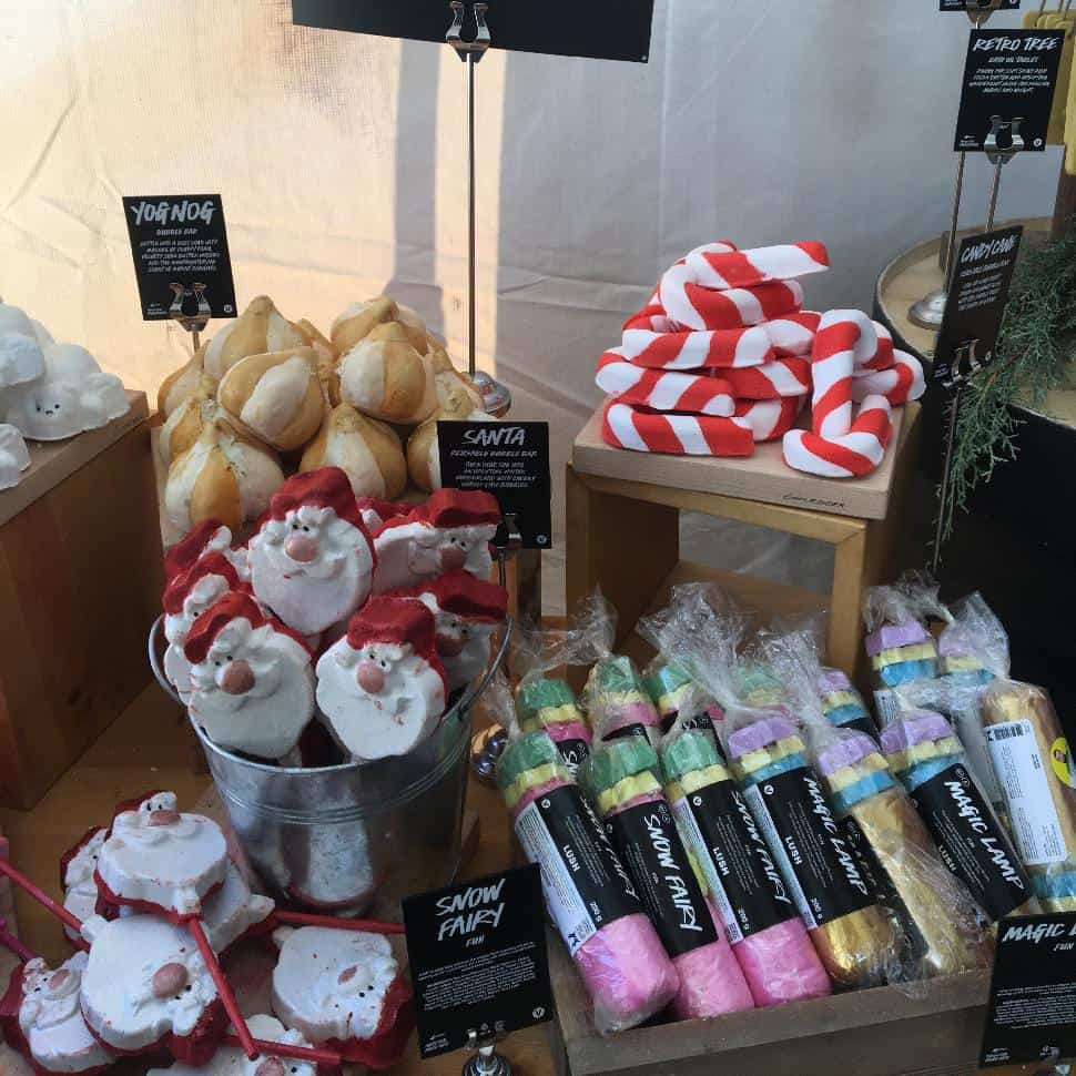 A sneak peek at the holiday collection, which is now available at Lush's Robson location.