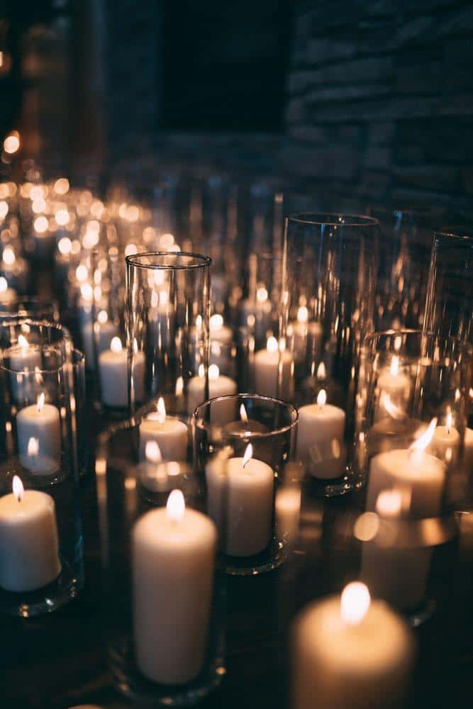 candles everywhere wedding