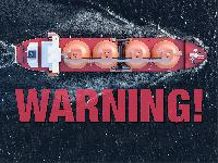 A tanker on the ocean with warning text