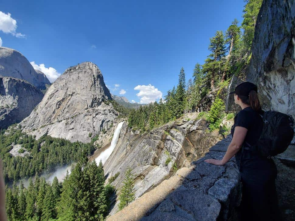 Writer Alison Hodgins takes a moment to appreciate Nevada Falls from the John Muir Trail