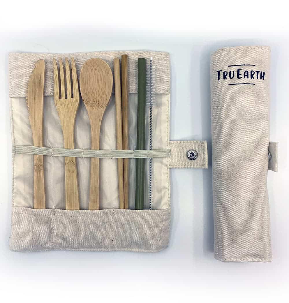 Tru Earth - Bamboo Cutlery Set (Fork, Spoon, Knife, Chopsticks, Straw) | NOW: $19.95