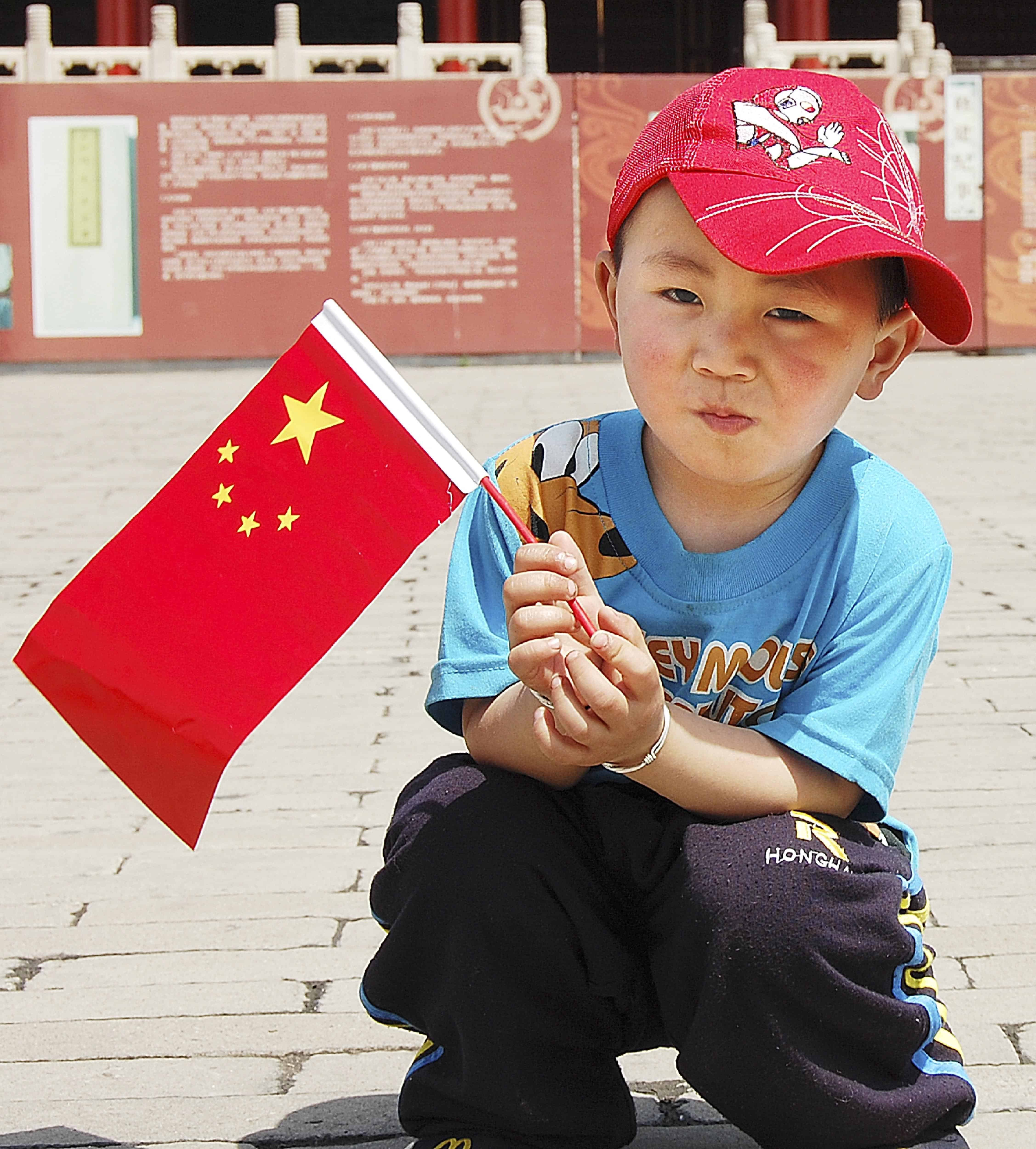 boy with chinese flag