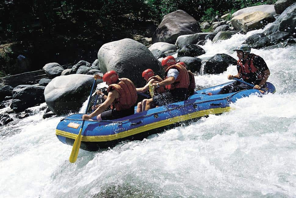 Adventure includes whitewater rafting.