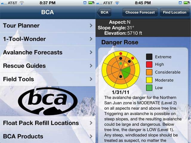 Backcountry Access Assessor App — $0