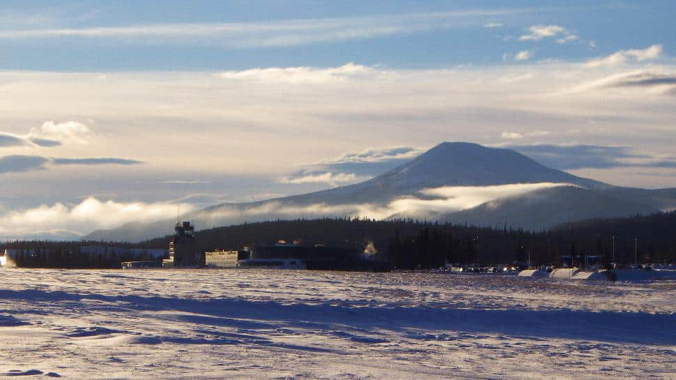 Yukon Airport in a haze of white