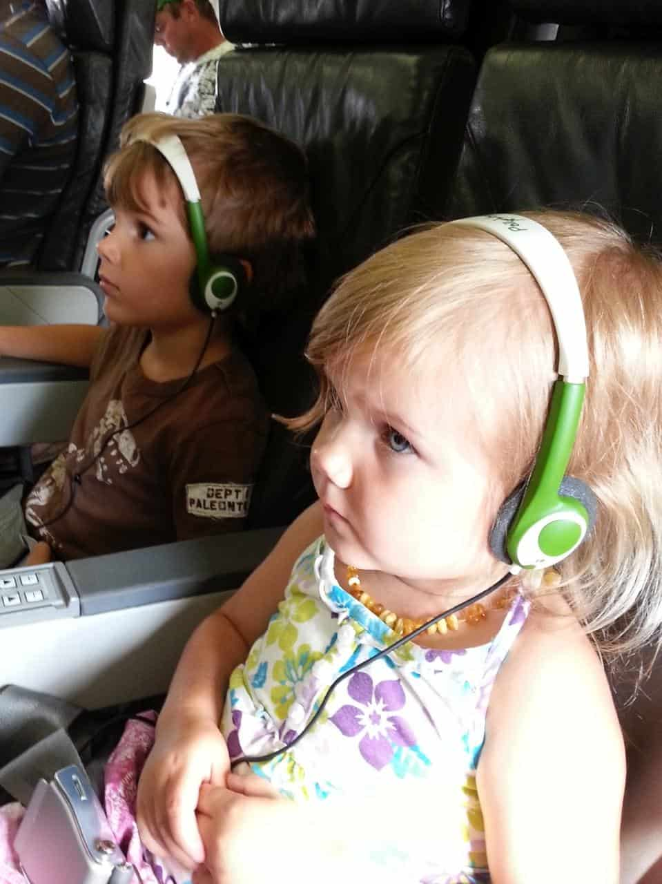 Toddler headphones on airplane