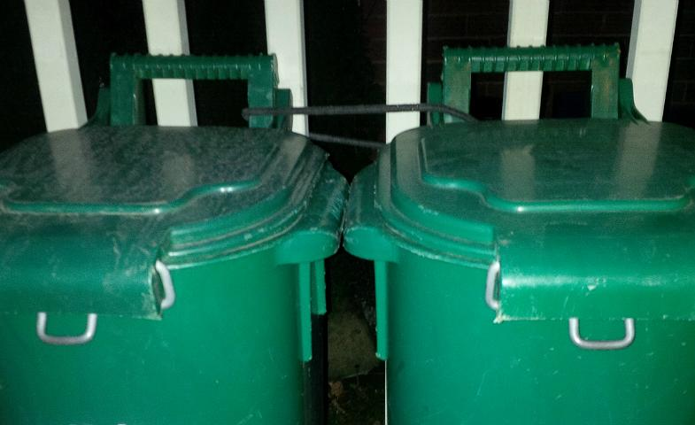 My Green Bins Tied to Porch Rail