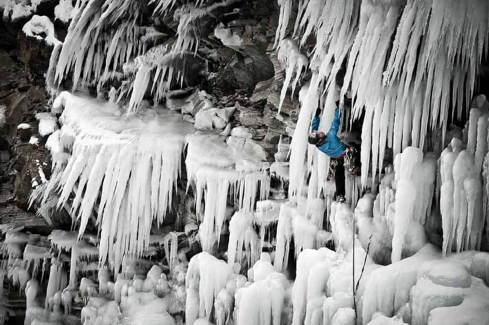 Ice Climbing in the Helmcken Falls Spray Cave, British Columbia