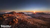 Haleakala volcano rises 10,023 feet above the beautiful beaches of Maui