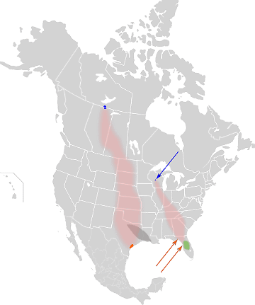 Distribution Map of the Whooping Crane