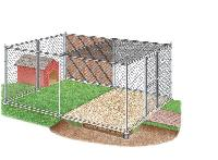 fenced dog kennel
