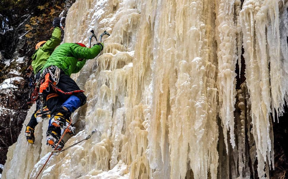 Photo by Aric Fishman - Terry Milne & Joey Miller climbing Northwestern Ontario ice