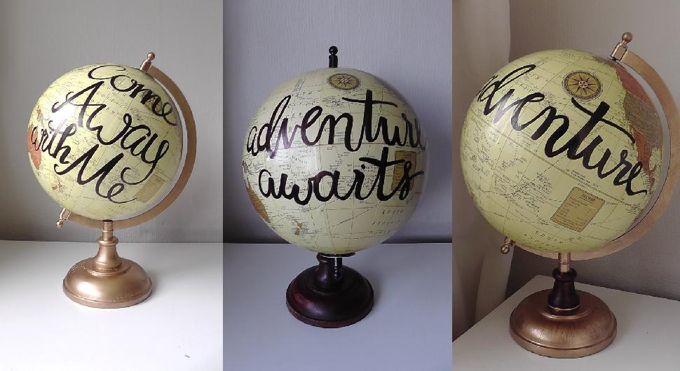 hand painted decorative globes