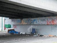 The Heatley overpass serves as a roof for the homeless.
