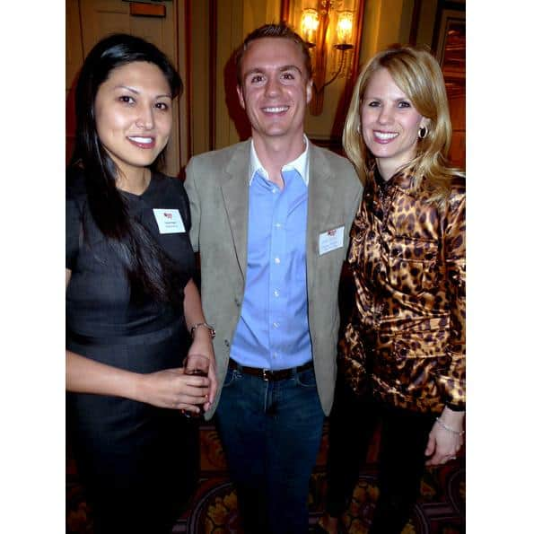Steve Curtis of Evergreen Venture Capital Corp. looks happy between two lovelies, Cybele Negris (l) of Webnames.ca Inc. and Sarah McNeil of McNeil Nakamoto Recruitment Group.
