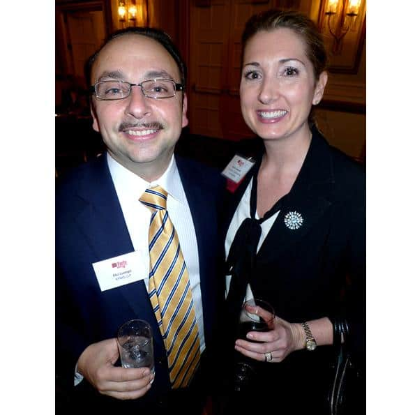 Elio Luongo (l) of KPMG beside winner Sarah Howard of Compton Fundraising Consultants.