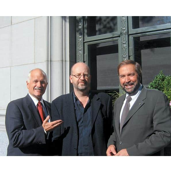Bill Tieleman with federal NDP leader Jack Layton and NDP deputy leader Thomas Mulcair, 2007.