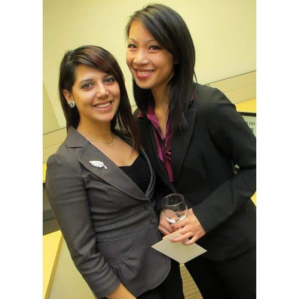 BCIT ladies Yvonne Rivera and Kristine Louie work the room.