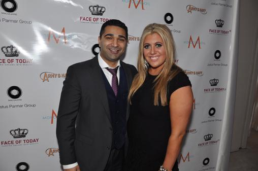 Justus Parmar, from the Justus Parmar Group, with Face of Today founder Kasondra Cohen-Herrendorf.