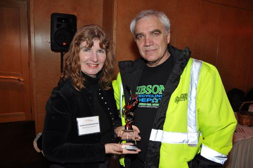 Best Green Business award winners from Gibsons Recycling Depot, Barb Hetherington and Buddy Boyd.