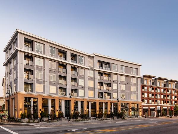Quattro3 in Surrey is the tallest wood-frame structure in the Lower Mainland. The six-floor condo complex was completed in September 2012, three years after the B.C. Wood First Act lifted the four-storey height cap on wood-frame buildings. Image: Tien She