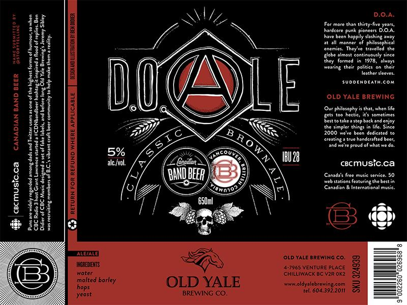 "The label for D.O.Ale, a riff off of B.C. punk band D.O.A, submitted during the #CDNBandBeer contest by @Storytellinc. Chilliwack-based Old Yale Brewing is creating a ""medium-bodied, classic brown ale [that] balances its hop and malt flavours with subtle"