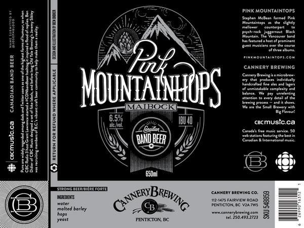 "The label for Pink Mountainhops, a pun on Vancouver-based rockers The Pink Mountaintops, submitted during the #CDNBandBeer contest by @JosephBlood. The ""hoppy Maibock"" is brewed by Penticton-based Cannery Brewing and  is the last of the series, released o"