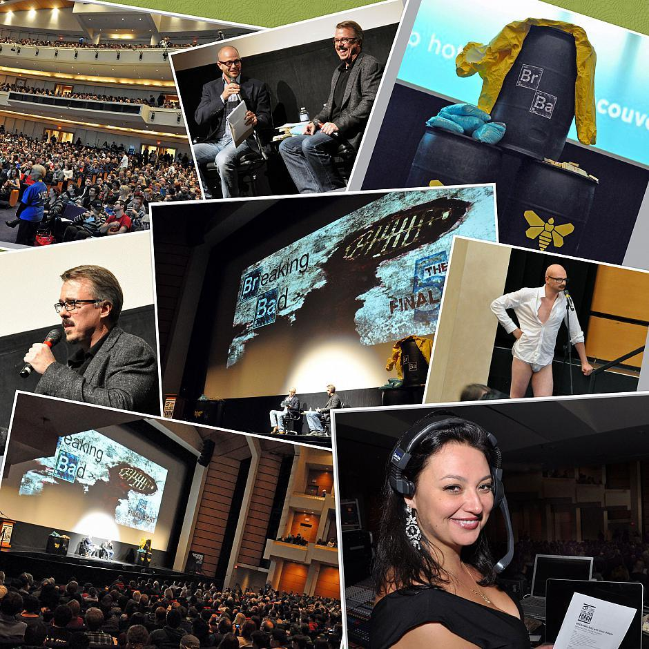 <em>Breaking Bad</em> creator Vince Gilligan is interviewed by <em>Lost</em> show runner Damon Lindelof in front of a sold-out crowd at The Centre for Performing Arts.