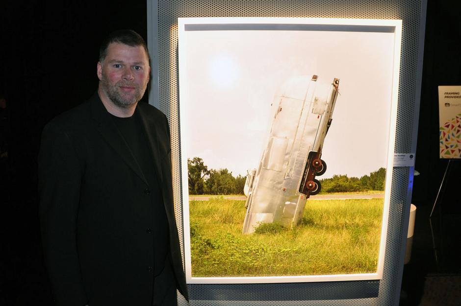 Artist Brian Howell and his artwork.