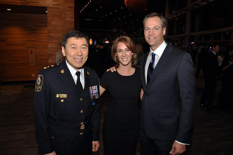 Jim Chu, VPD police chief; Kristi Gordon, Global BC meteorologist; and Chris Gailus, Global BC News anchor and gala emcee.