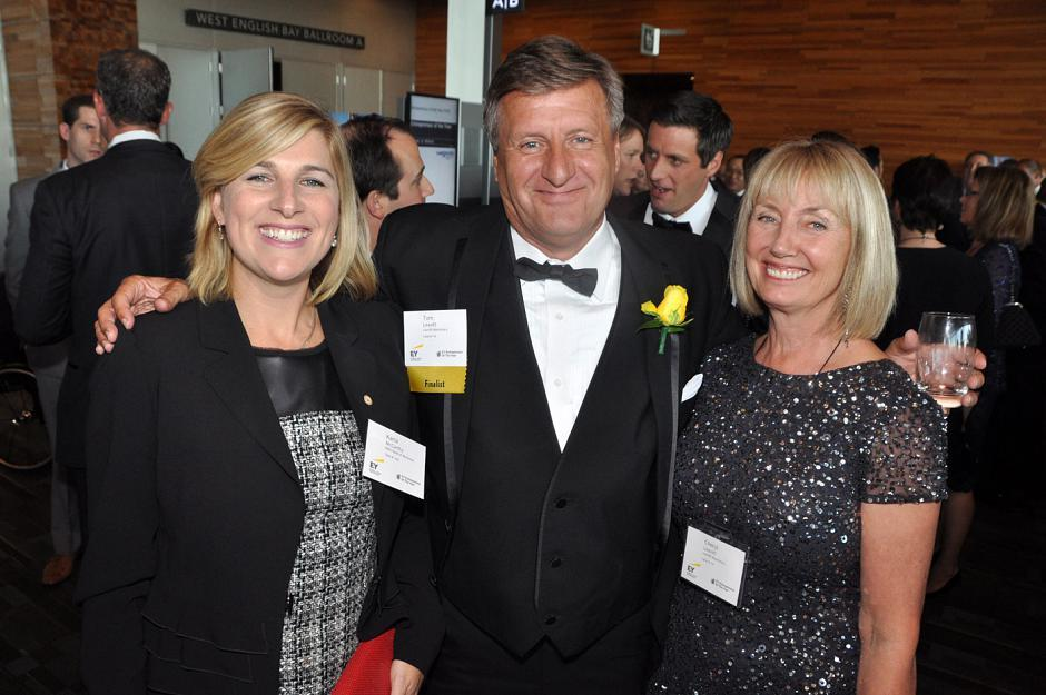 Karla McCarthy, BMO managing director; Tom Leavitt, Leavitt Machinery president & CEO and Pacific Entrepreneur of the Year award winner; and his wife, Cheryl Leavitt.