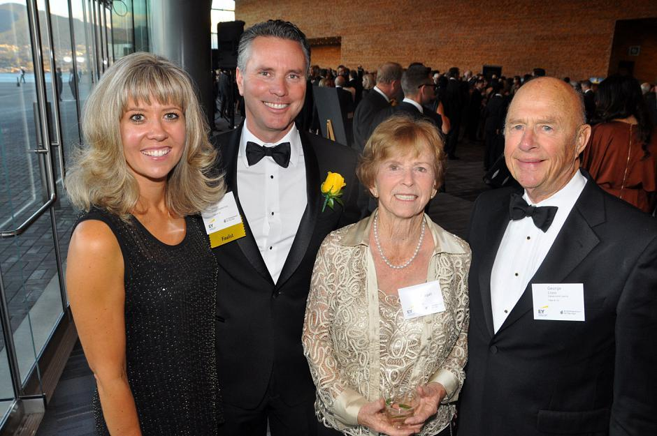 Victoria O'Dea; mining award winner Mark O'Dea, Oxygen Capital Corp. founder & chair; Miriam MacDougall; and George Cross, Haywood Securities resource specialist.